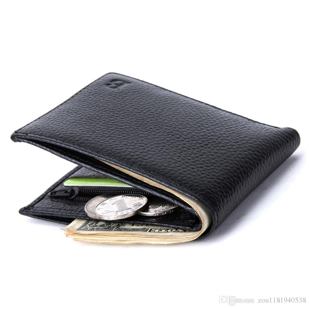 Baborry Fashion New Men's Genuine Leather Wallets Black Color Light Soft Quality Soft 2 Fold Thin Coin Pocket Credit Card Holder Purse