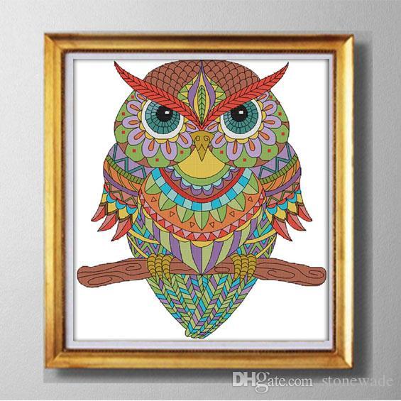 Coruja, desenhos animados animais diy pintura decoração de casa, 11CT contados impressa na tela DMC, DIY chineses kits Cross Stitch ct 14 Conjuntos needlework