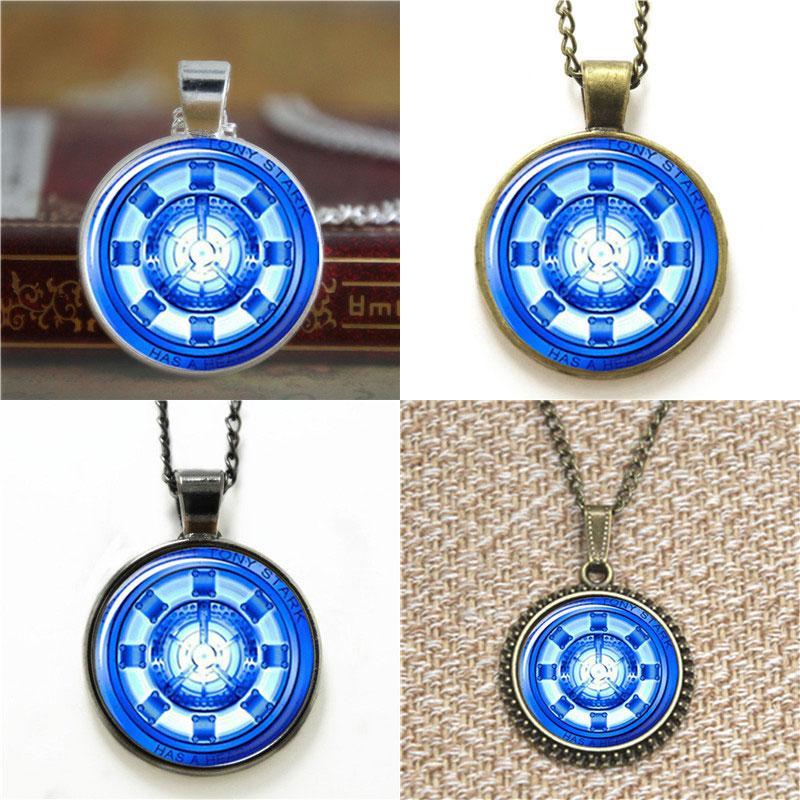 10pcs Iron Man Arc Reactor Tony Stark Pendant Glass Photo Necklace keyring bookmark cufflink earring bracelet