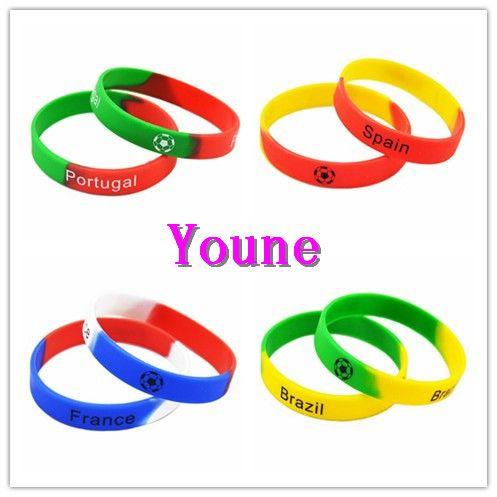 Chaud! Bracelet de bracelet de silicium imprimé de conception de mélange de 50PC pour l'équipe de football France, Brésil, Espagne et Portugal