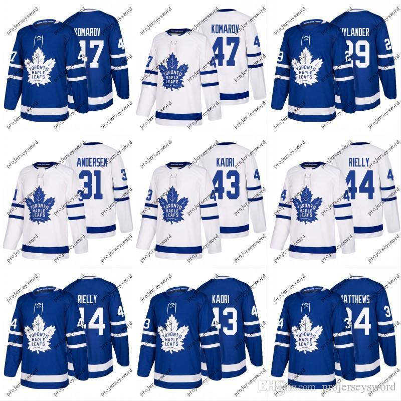 Toronto Maple Leafs Trikot 43 Nazem Kadri 29 William Nylander 44 Morgan Rielly 47 Leo Komarov Individuelle Hockeytrikots Weiß Blau S-3XL