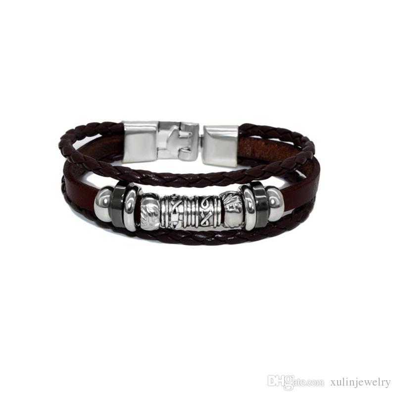 21CM 5 Cool Styles Men String Black Braided Leather Magnet Wrap Bracelet Friendship Gift Bracelet WO13