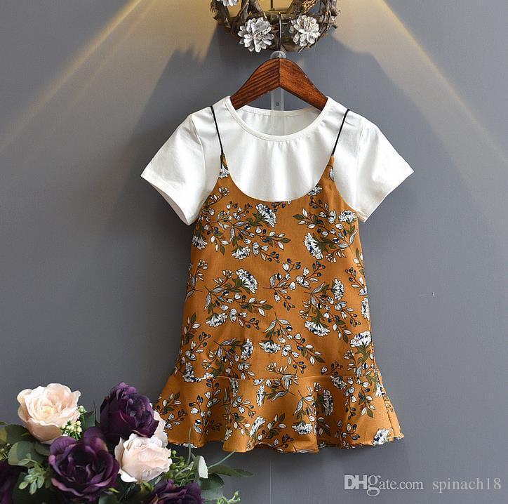 Hot Summer Girls Dress Set Baby Kids Cotton Short Sleeve T-shirt + Florals Slip Dress Girl 2pcs Clothing Suit Children Outfits Yellow Green