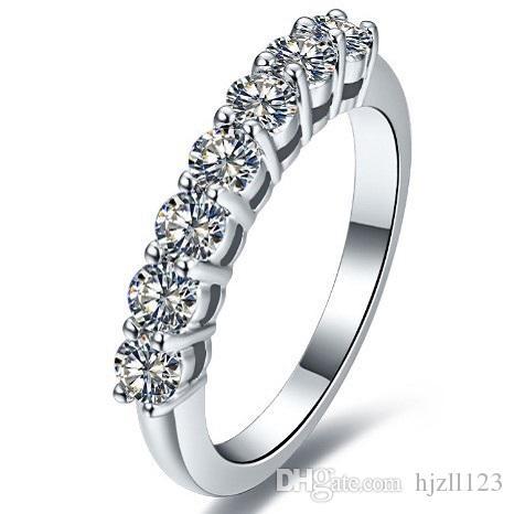 Bırak nakliye 0.7 ct 7 Taşlar Sentetik Elmas Nişan Yüzüğü Moda 925 Ayar Gümüş Takı Yüzükler Kadınlar Için Pt950 Stapmed