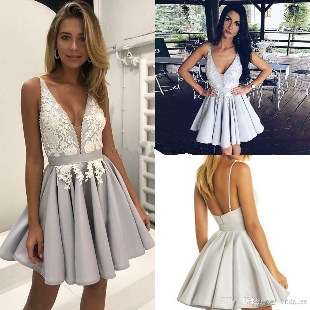 6c93c0a2bfa 2018 Short Homecoming Dresses A Line Deep V Neck Mini Lace Backless  Cocktail Party Dresses For Graduation Prom Tea Length Homecoming Dresses  Tight ...