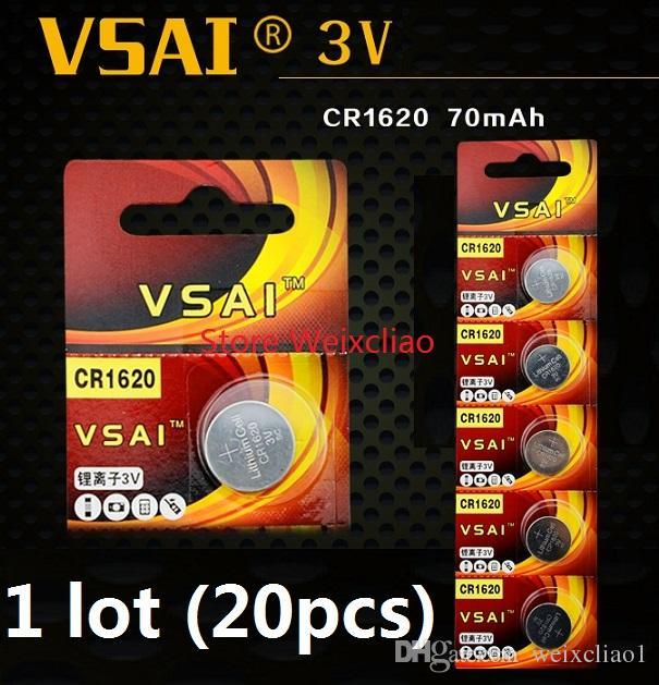 20pcs 1 lot CR1620 3V lithium li ion button cell battery CR 1620 3 Volt li-ion coin batteries VSAI Free Shipping