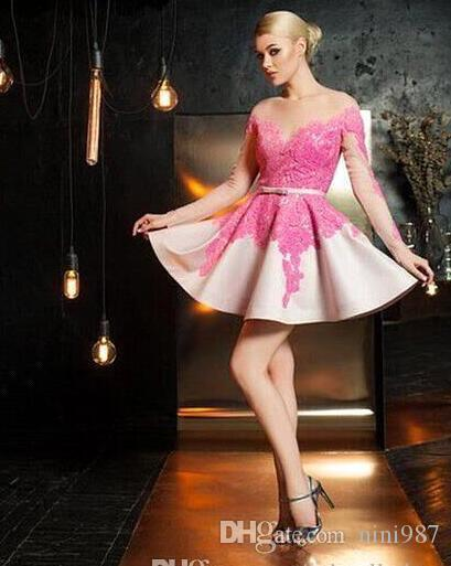 Fuchsia Short Cocktail Dresses Jewel Sheer Illusion Long Sleeves Ball Gown Bling Homecoming Gowns Short Bridesmaid dresses 2017 Cheap sale