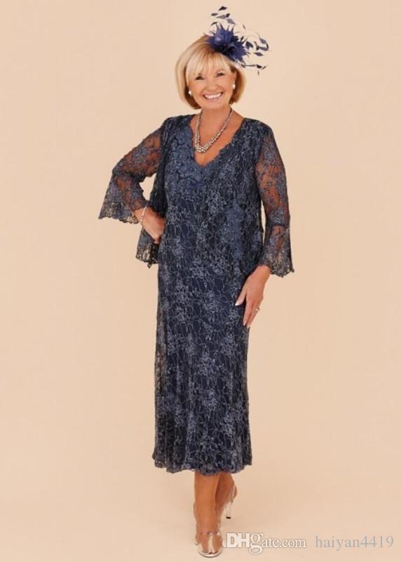 2020 Formal Plus Size Grau-Mutter der Braut-Kleid mit V-Ausschnitt mit langen Ärmeln vollen Spitze wulstigen Tee Länge mit Jacken-Partei-Kleid-Abend-Kleidern