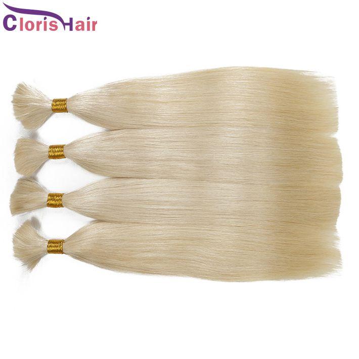Uzun Düz Sarışın Malezya Toplu İnsan Saç Uzantıları İşlenmemiş 613 Platin Sarışın İnsan Örgü Saç Toplu Yok Eklenti 3 Paketler