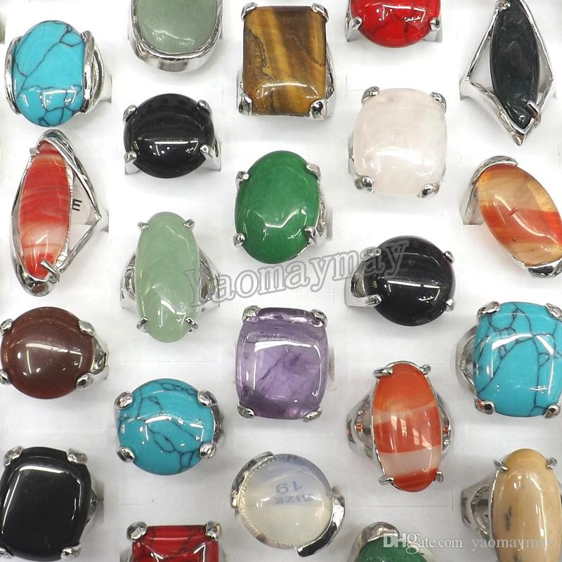 50pcs/Lot Queen Size High Quality Natural Semi-precious Stone Rings Include Turquoise, Opal, Rose quartz, Etc