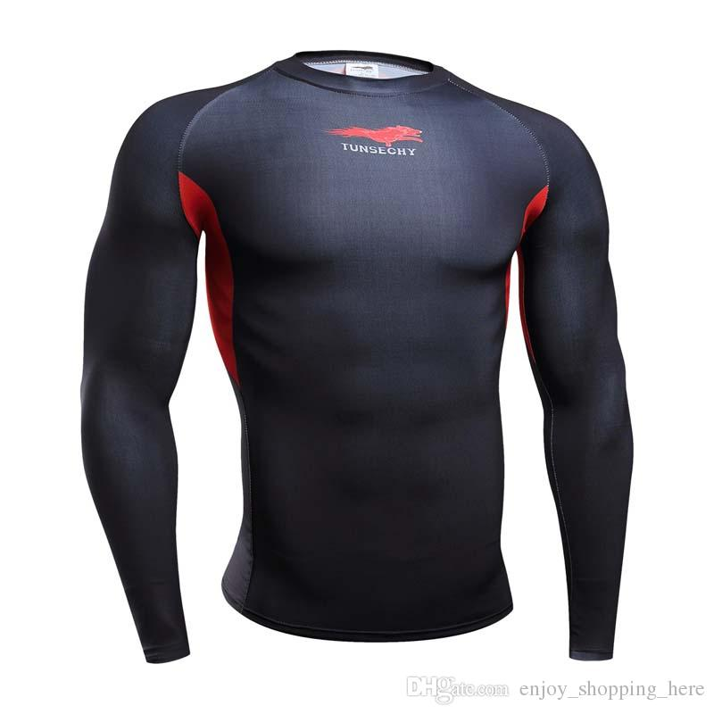 gym clothing Crossfit men body engineer superhero Compression Shirt Long Sleeves Training t shirt Summer Fitness Clothing Bodybuild 4XL