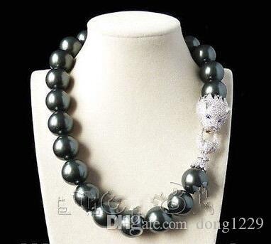 потрясающий 20 мм черный оболочки жемчужное ожерелье 18-дюймовый дракон застежка