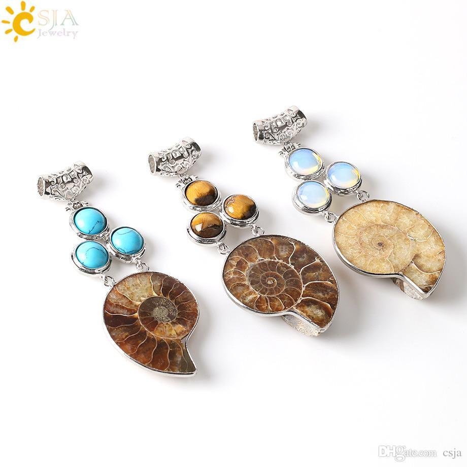 CSJA Bohemia Ketting Pendant Natural Ammonite Shell Fossils Round Charm Opal Turquoise Rose Quartz Semi Precious Stone Bead E249