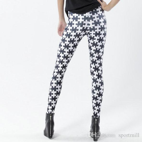 Puzzle style pants Black white jigsaw tight Quality women gym clothing Leggings sport wear Fitness training sportwear Exercise trousers