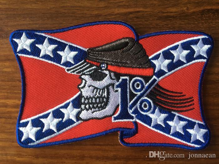 VENDITA CALDA! Rebel 1% American Flag MC Biker Patch Ricamo Iron On Sew On Patch Badge 10 pz / lotto Applique DIY Spedizione gratuita