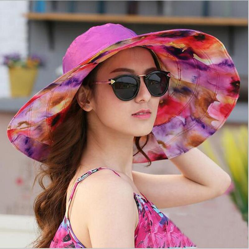 Wholesale- 2017 Mode-Design-Blumen-faltbarer Brimmed Sonnenhut Sommer-Hüte für Frauen im Freien UV-Schutz Großen Visier Strand-Hut HT51187