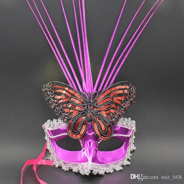 비가 방출 섬유 깃털 마스크 화려한 나비 무도회 파티 마스크 도매 여성 공주 플래시