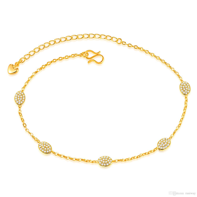 Elegant 18K Gold Plated Cubic Zirconia Rhinstone Anklet Bracelet Foot Chain Sandal Jewelry Fashion Jewelry for Women Girls