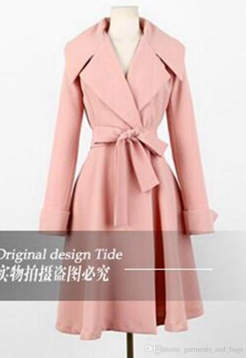 Mulheres na primavera e no outono quente estilo boutique high-end temperamento mostrar fina grande jardas trench coat / S-XL