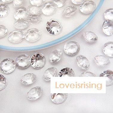 18 Colors Pick--500pcs 10mm (4 Carat) Clear White Diamond Confetti Faux Acrylic Bead Table Scatter Wedding Favors Party Decor