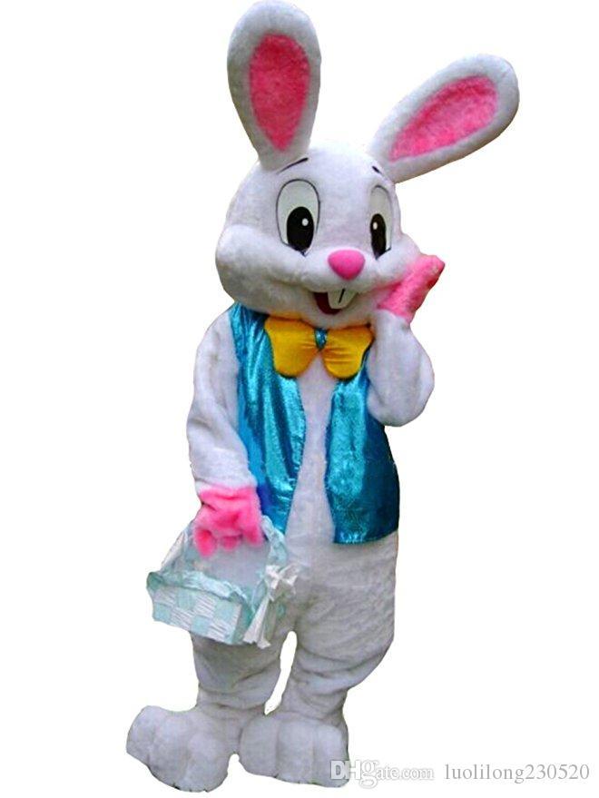 Costume de mascotte de costume de lapin de Pâques Vêtement intéressant Personnages animés pour partie et célébrations de vacances