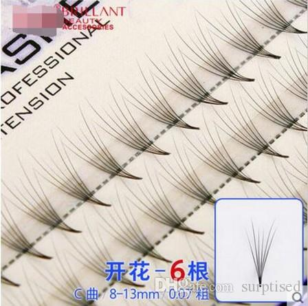 Volume 6D Eyelash Extensions 0.07mm Thickness Hair Mink Strip Eyelashes Individual Lashes Fans Lash Natural Style