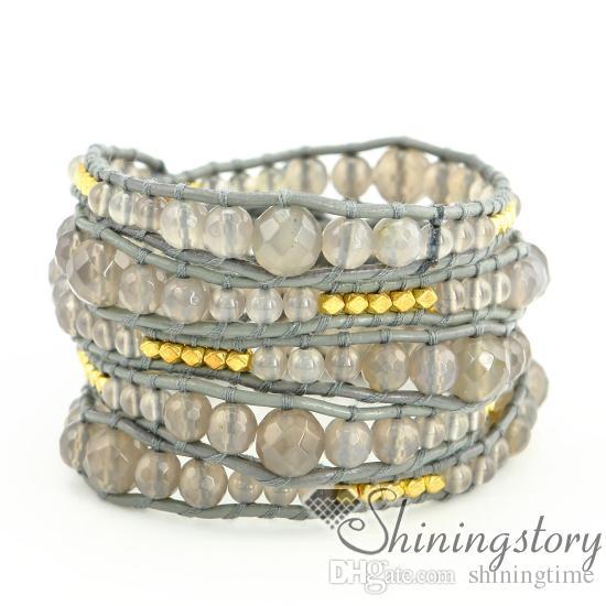 cuir gros 5 bracelets wrap couche populaires (bracelets) bracelets enveloppants en cuir pour les femmes pas cher perlaient (bracelets) bracelets en cuir pour gir