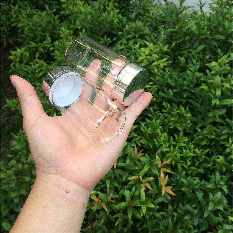 Cute Glass Bottles Silver Screw Cap Glass Crafts Transparent Bottles For Sand Candy Gift Jars Decorate