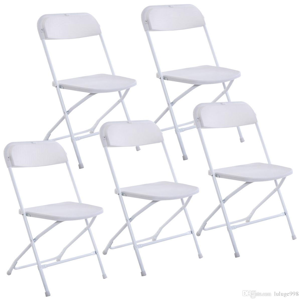 2021 New Set Of 5 Plastic Folding Chairs Wedding Party Event Chair Commercial White From Luluge998 46 73 Dhgate Com