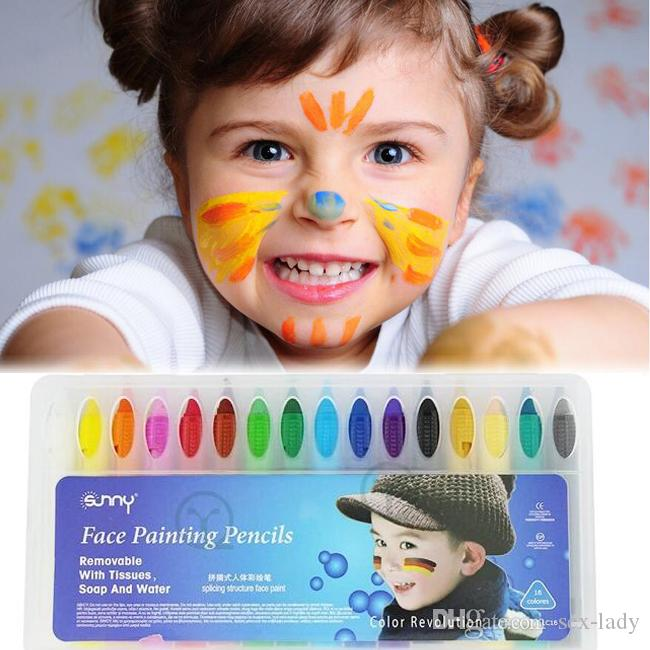Baby Kids 16 Color Face Body Painting Crayon Kit Set Sticks Party Wedding Kids Child Drawing Toys Gift Face Painting Pencils Face Deco