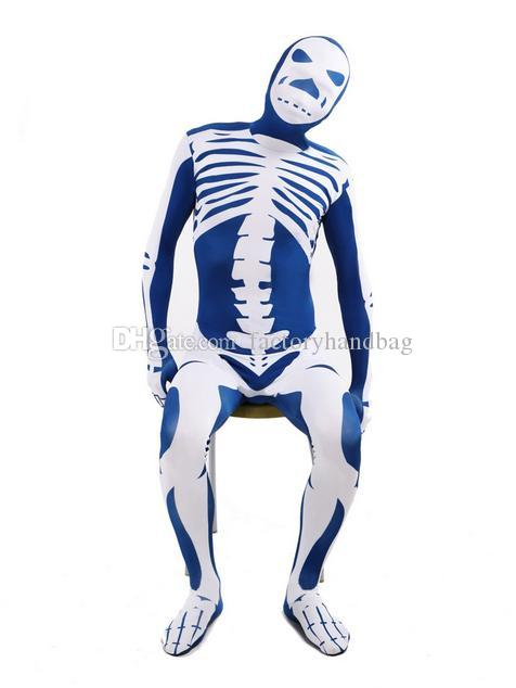 DHL Blue & White Skeleton Nude Suit Tight Zentai Body Spandex Stretch Mens Jumpsuit Adult