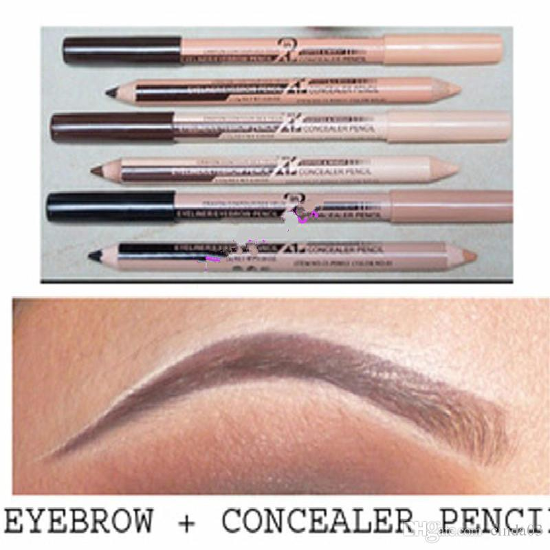 Nuevo Hot 48PCS / lote Maquiagem Eye Brow Menow Maquillaje Doble Función Ceja Lápices Corrector Lápices Maquillaje