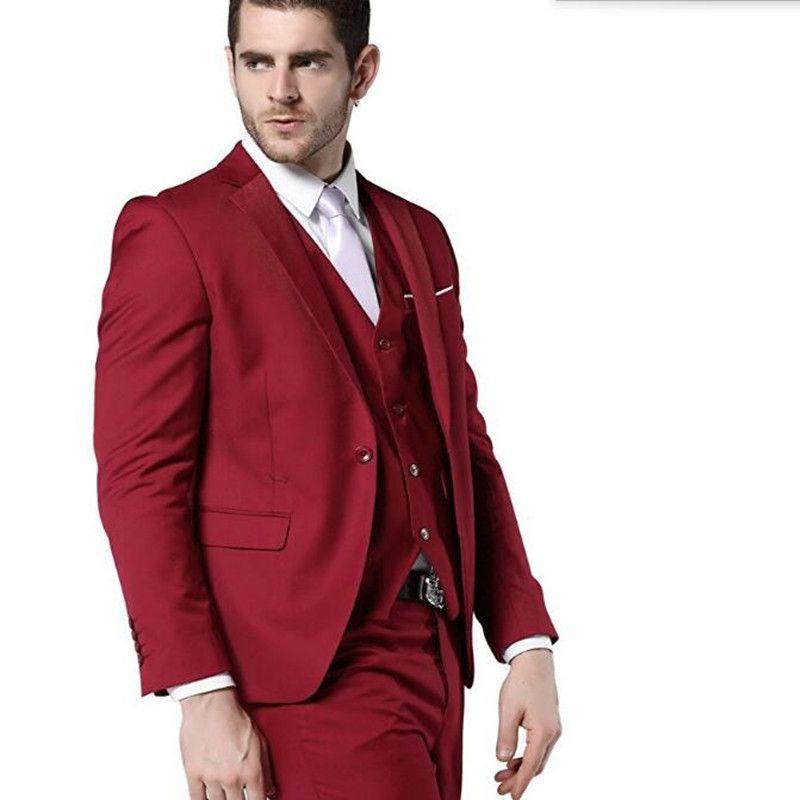 Red ternos mais recente casaco e calça design noivo ternos smoking personalizado lapela um botão ternos de casamento (jaqueta + colete + calça)