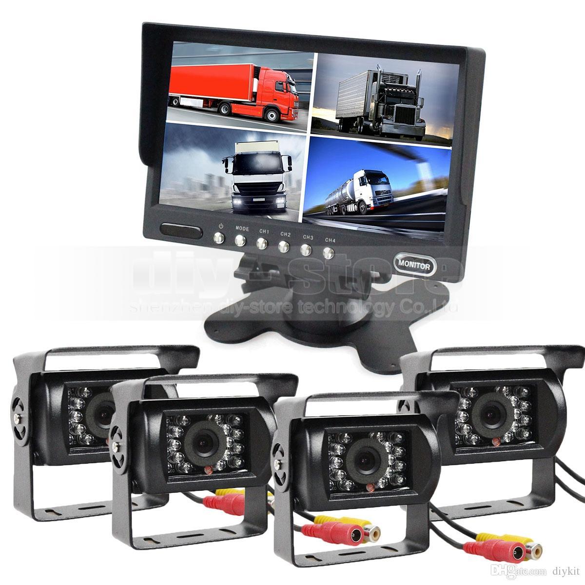 7 pollici 4 Split QUAD monitor di retrovisione dell'automobile monitor + 4 x CCD IR di visione notturna macchina fotografica di retrovisione impermeabile per il camion del bus