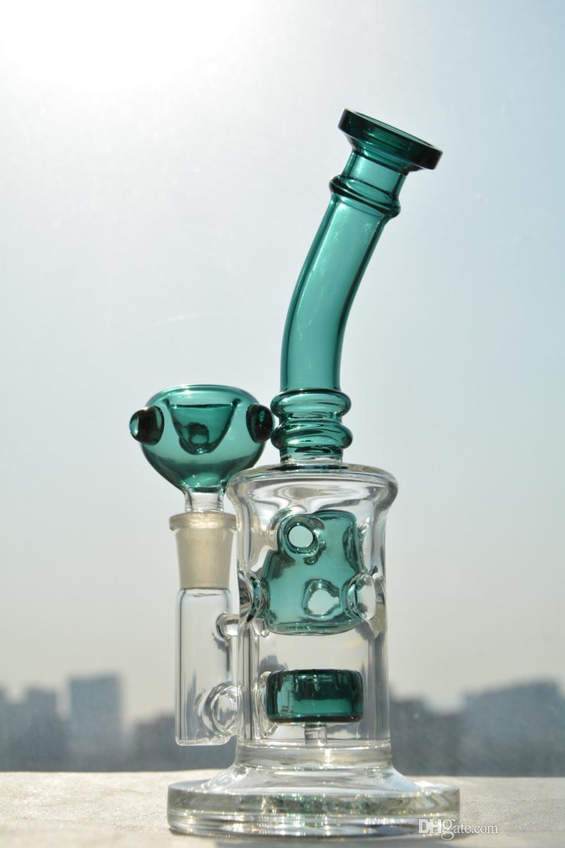 Yeşil Fab Yumurta Cam Bongs Geri Dönüşümlü Kuleleri Cam Su Borular Sigara Boru 2 Fonksiyon 14mm Ortak