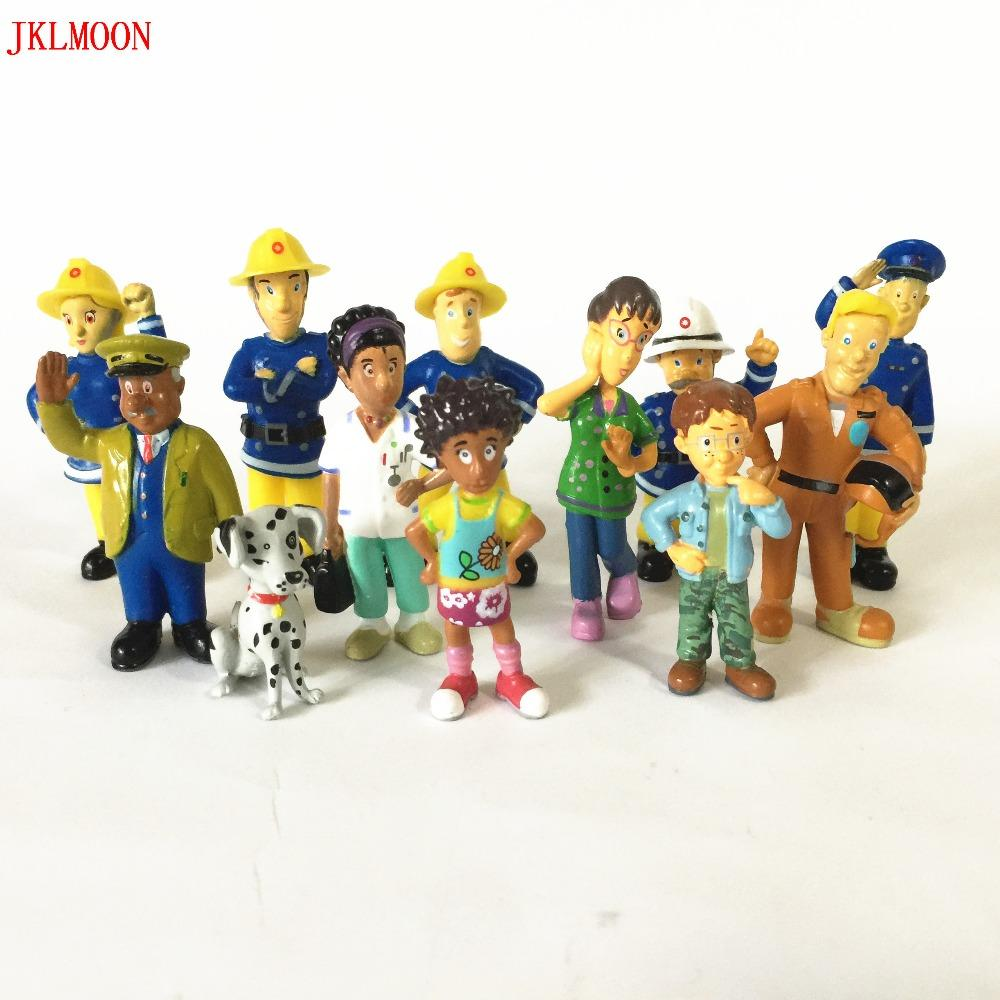 12 Pcs/Set Fireman Sam action figure toys 3-6cm Cute Cartoon PVC Dolls For Kids Christmas Gift ,Anime Collection model Dolls