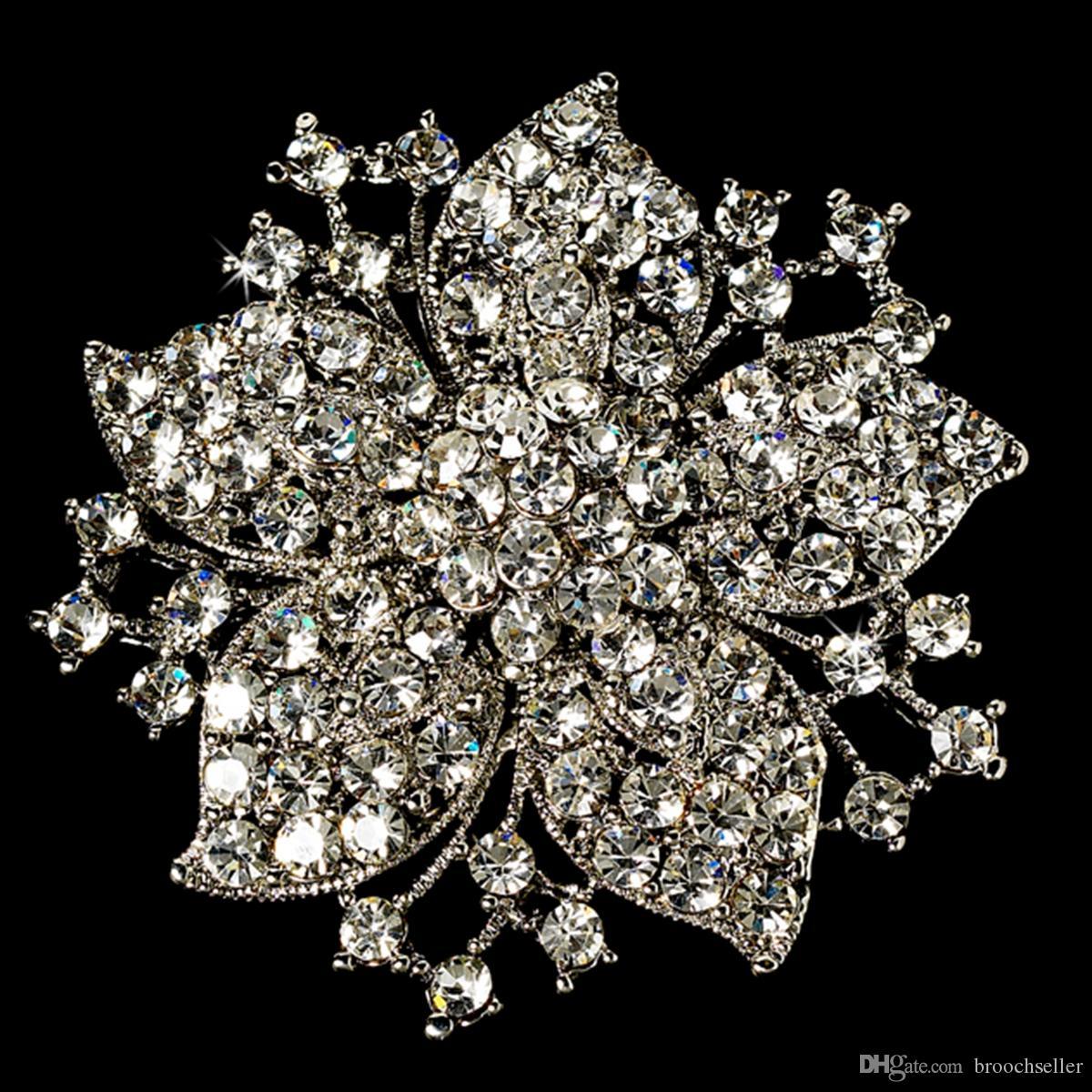 Vintage-Rhodium Verzilverd Clear Rhinestone Crystal Flower Wedding Uitnodiging Pin Broche