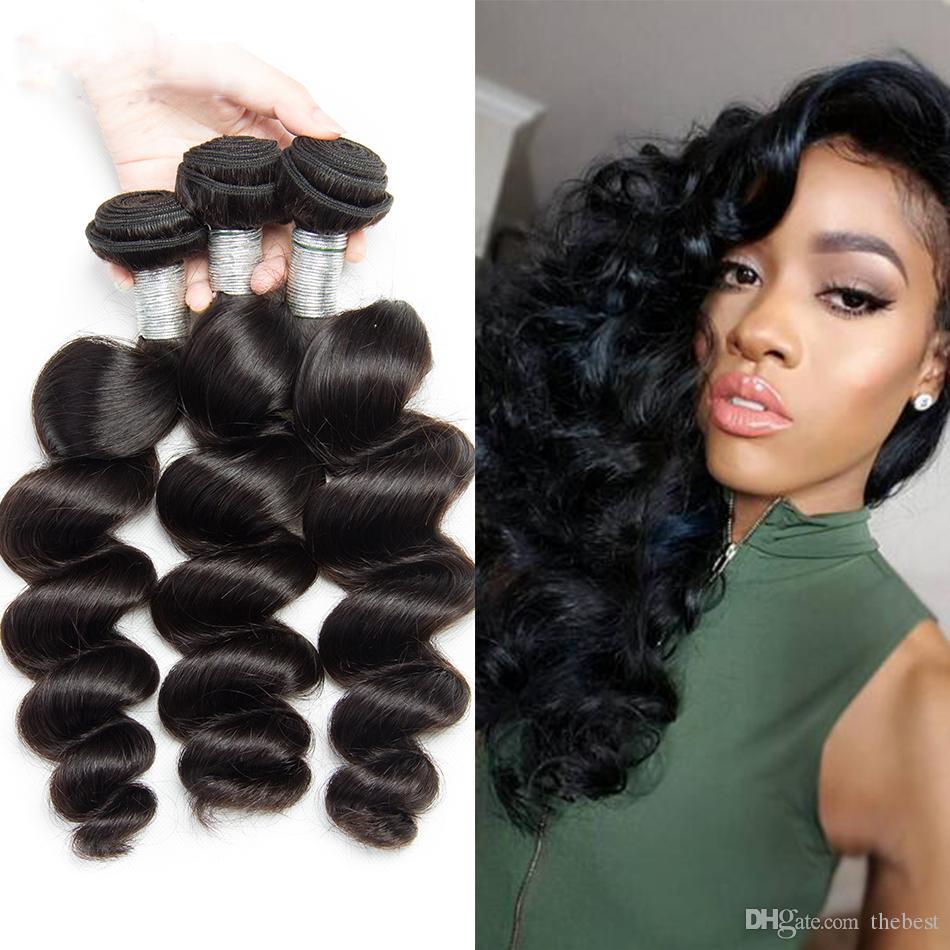 """غير المجهزة بيرو العذراء الشعر فضفاض موجة 8 """"-30"""" بيرو ريمي الإنسان نسج الشعر 3 قطعة / الوحدة"""