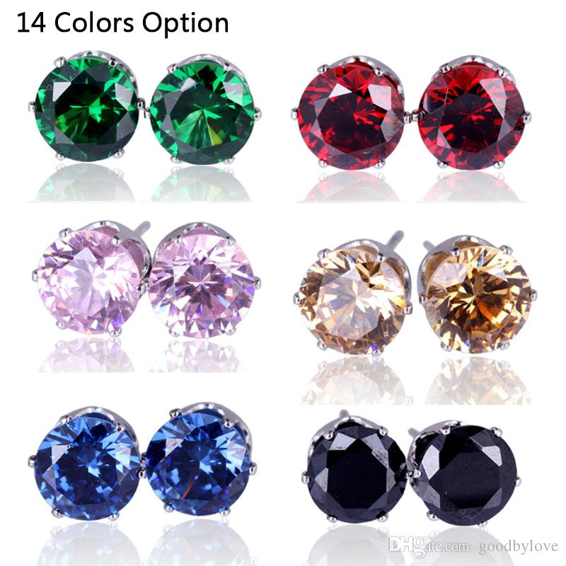 10 Colors Yellow/White Gold Color 8MM Round Cubic Zirconia CZ Piercing Stud Earrings Fashion Party Costume Jewelry Bijoux