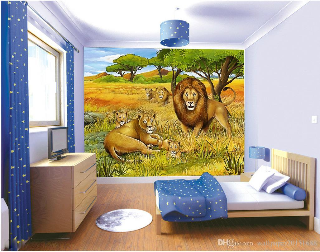 Jungle Lion Oil Painting Kids Room Backdrop Mural 3d Wallpaper 3d Wall Papers For Tv Backdrop Hd Wallpaper Images Hd Wallpaper In Hd From