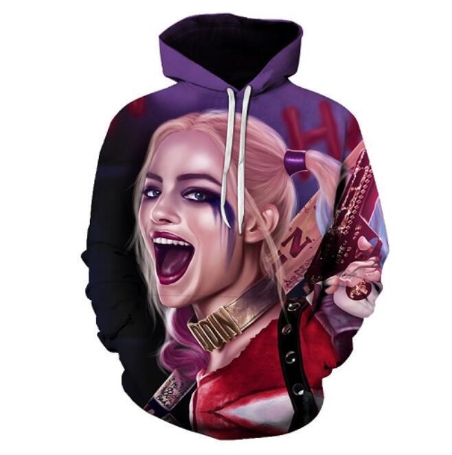 Nova Moda Hip Hop 3d Hoodies Harajuku Estilo Harley Quinn Joker Impresso Mulheres / Homens Com Capuz Streetwear Moletom Com Capuz LMS00046