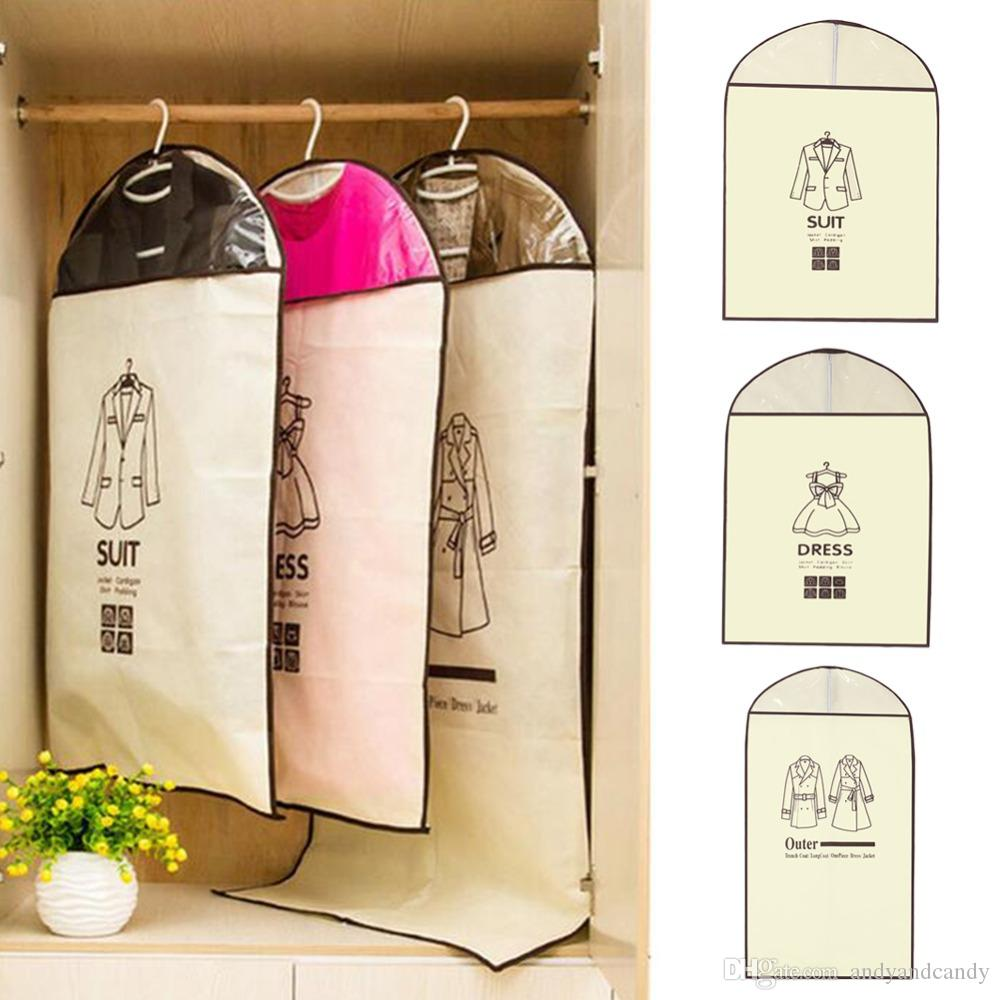 Home Dress Jacket Clothes Storage Bags Garment Suit Cover Case Coat Dustproof Storage Bags Travel Protector Housekeeping Hanging Organizer
