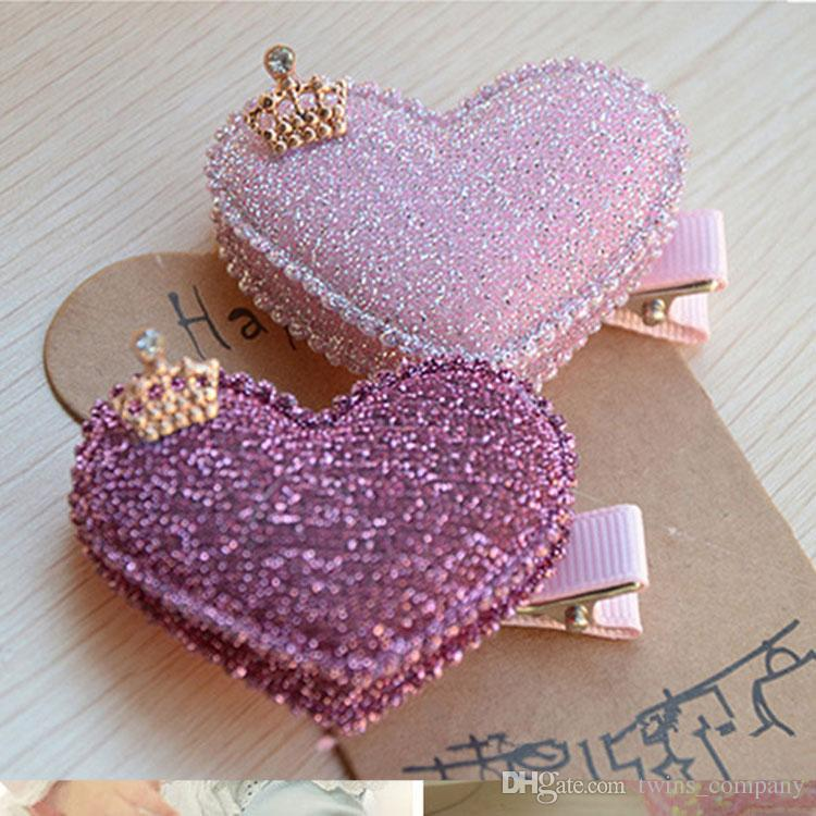 2pcs/lot Baby Girls Hair Accessories Sequin Heart Bear Shiny Fabrics And Crown Hair Clip Kids Children Hairpin
