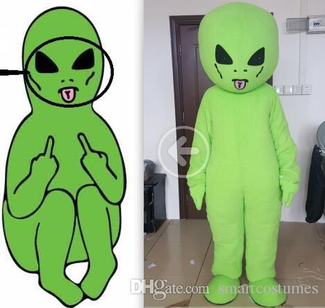 custom made LOGO customized design OEM mascot costume custom mascot costume green alien for adult to wear