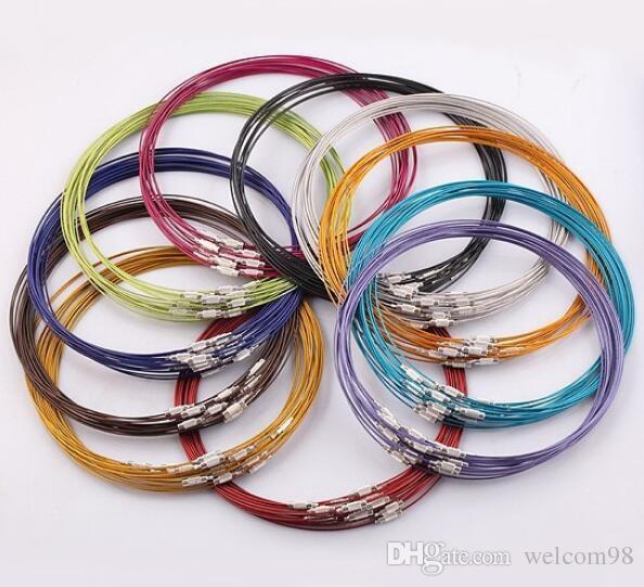 100pcs / lot Mix couleur 18inch en acier inoxydable collier fil de fil pour les résultats de bijoux artisanat bricolage composants W7 * Livraison gratuite