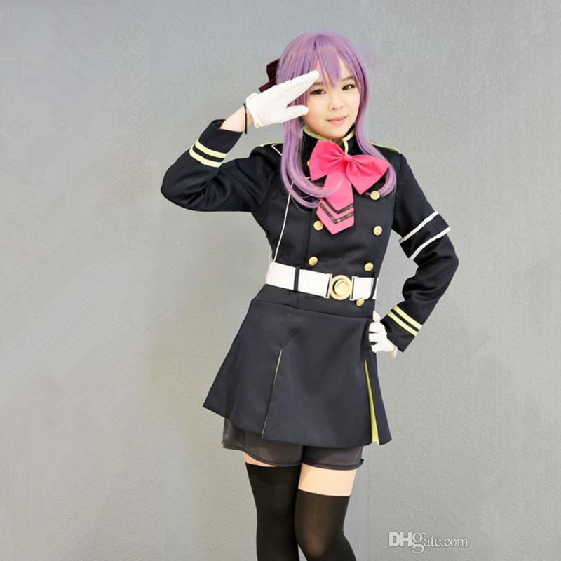 Hiiragi Shinoa trajes cosplay uniforme anime japonés Serafín de la ropa final Masquerade / Mardi Gras / Carnival suministro de stoc