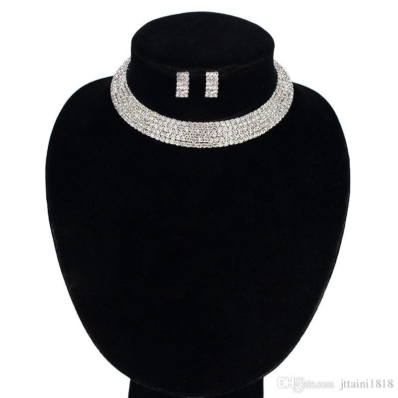 I monili della sposa Elegante cristallo singola fila perline collana bracciale orecchini per le donne set di gioielli da sposa