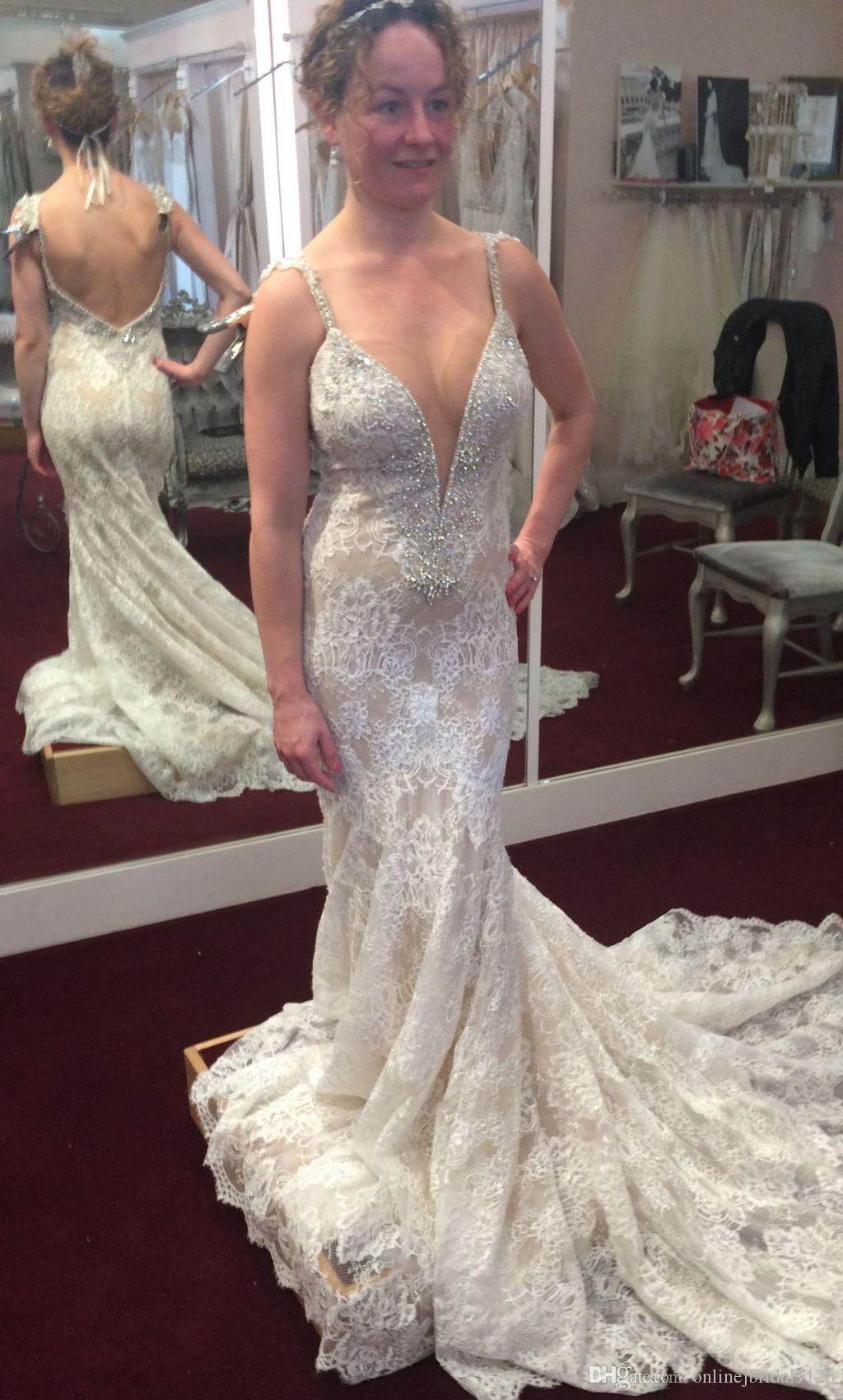 High Quality Lace Spaghetti Straps Sexy Sweetheart Backless Beaded Diamonds Pearls High Wedding Dresses Bridal Gowns