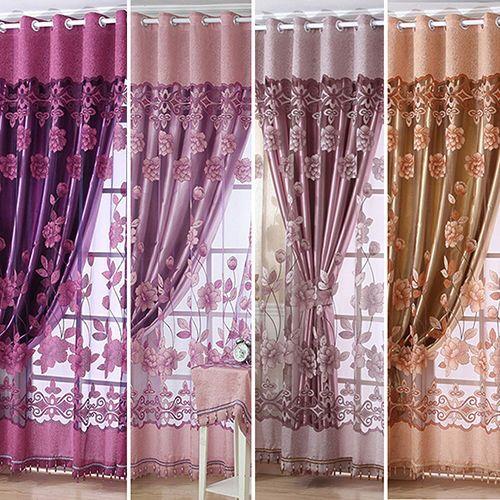 Simples moderno-estilo europeu high-end sheer floral voile tule haste cortina de bolso fina janela cortina cortina saia
