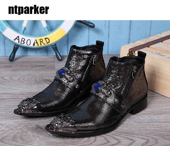 100% nuovo di zecca stivali da uomo western stivaletti da uomo punta in metallo nero nero oro partito e stivali da sposa uomo Botas Hombre, grande US6-12